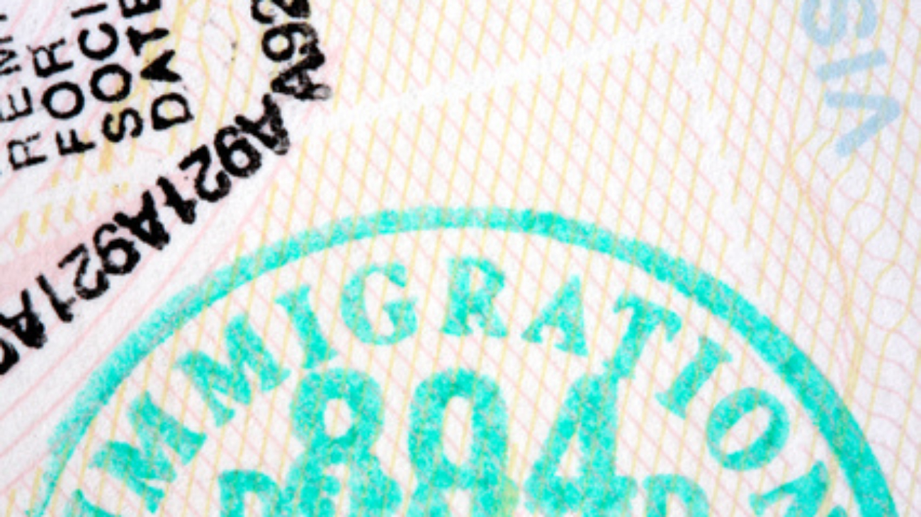 "Passport stamps in macro, featuring close-up of ""immigration"" stamp."